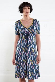 RUCHE  dámské letní šaty ze 100% biobavlny  - modrá atlantic