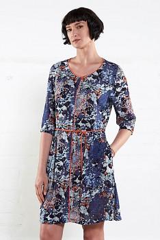 HANA dámské letní šaty z mačkané bavlny - modrá