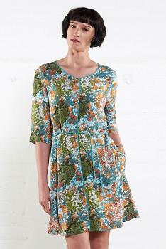 HANA dámské letní šaty z mačkané bavlny - zelená mango