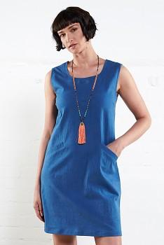 PINAFORE dámské letní šaty z bavlny - modrá