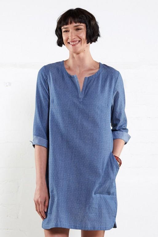 CHAMBRAY dámské letní tunikové šaty z tkané bavlny 30denni garance ... 9461c4cdeb