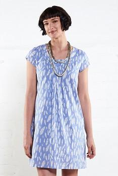FERN dámské letní tunikové šaty z bavlny - modrá chambray