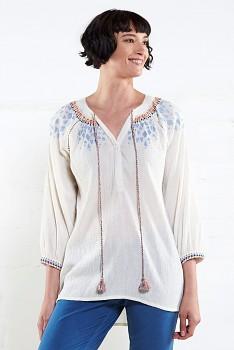 IVORY dámská letní vyšívaná tunika z bavlny