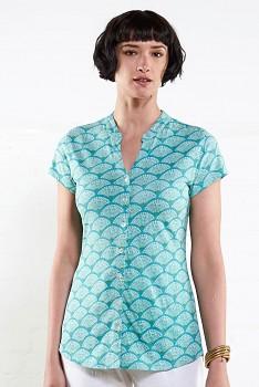 FAN dámská úpletová košile 100% biobavlny  - modrá aqua