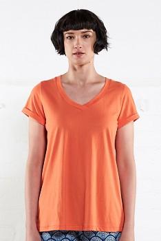 VEE dámské tričko s krátkými rukávy ze 100% biobavlny - oranžová mango