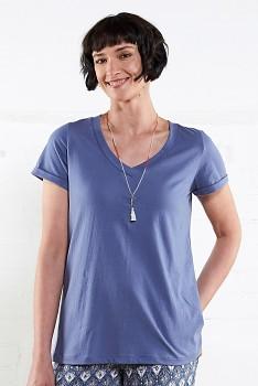 VEE dámské tričko s krátkými rukávy ze 100% biobavlny - modrá