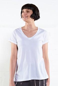 VEE dámské tričko s krátkými rukávy ze 100% biobavlny - bílá