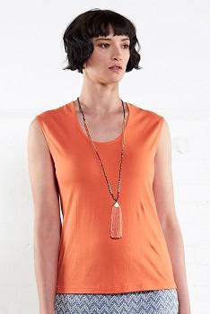 VEST dámské tričko bez rukávů ze 100% biobavlny - oranžová mango