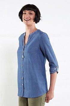 CHAMBRAY dámská letní košile z ručně tkané bavlny