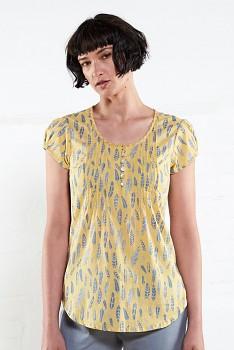FEATHER dámská letní halenka s krátkými rukávy - žlutá