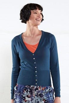 SHORT SCOOP dámský propínací svetr ze 100% biobavlny  - modrá atlantic