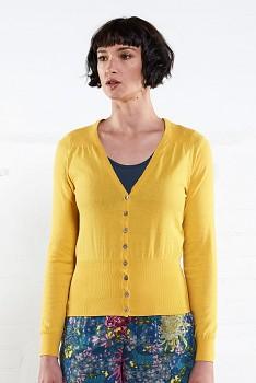 SHORT SCOOP dámský propínací svetr ze 100% biobavlny  - žlutá sunflower