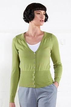 SHORT SCOOP dámský propínací svetr ze 100% biobavlny  - zelená apple