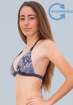 MADI HALTER REVERSE oboustranný horní díl plavek bikini -  černá/vzor