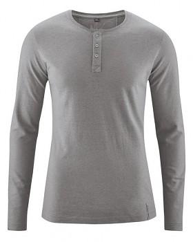 SLY pánské tričko s dlouhým rukávem z konopí a biobavlny - šedohnědá taupe