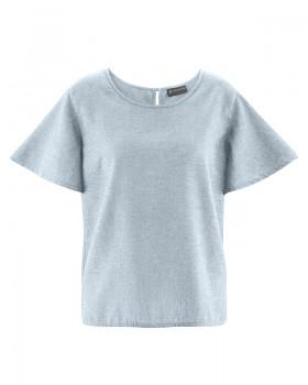 BELL dámský top s krátkými rukávy z konopí a biobavlny - šedá platinová