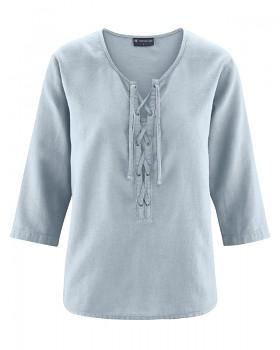 KORD dámský top s 3/4 rukávy z konopí a biobavlny - šedá platinum