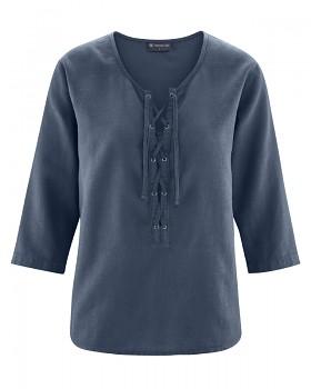 KORD dámský top s 3/4 rukávy z konopí a biobavlny - tmavě modrá wintersky