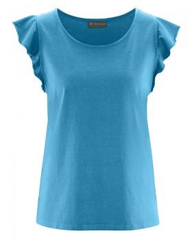 RUFFI dámský top s krátkými rukávy z biobavlny a konopí - modrá atlantic