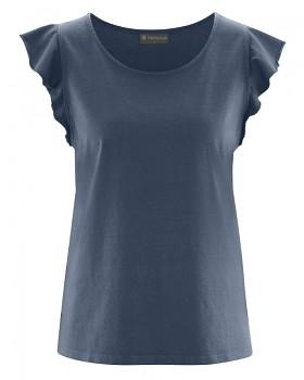 RUFFI dámský top s krátkými rukávy z biobavlny a konopí - tmavě modrá wintersky