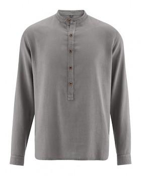 LUFT pánská košile z konopí a biobavlny - šedohnědá taupe