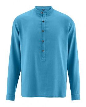 LUFT pánská košile z konopí a biobavlny - modrá atlantic