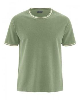 PIQUE pánské tričko s krátkými rukávy z konopí a biobavlny - zelená cactus