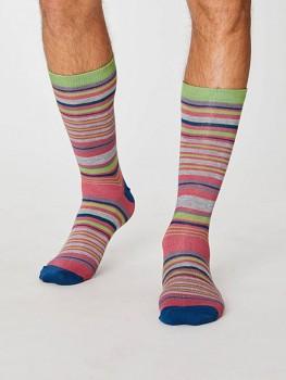 JAMIES Pánské ponožky z bambusu a biobavlny - růžový proužek rust