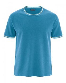 PIQUE pánské tričko s krátkými rukávy z konopí a biobavlny - světle modrá atlantic