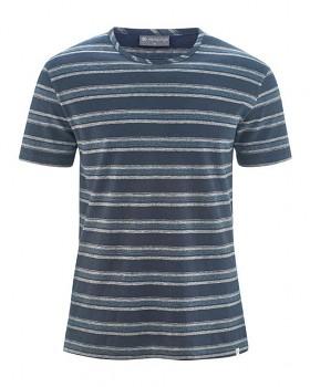 KORK pánské pruhované tričko s krátkými rukávy z konopí a biobavlny - tmavě modrá wintersky