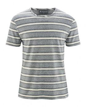 KORK pánské pruhované tričko s krátkými rukávy z konopí a biobavlny - šedá nature