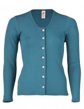 Dámský svetřík s dlouhými rukávy ze 100%  bio merino vlny - modrozelená turquoise