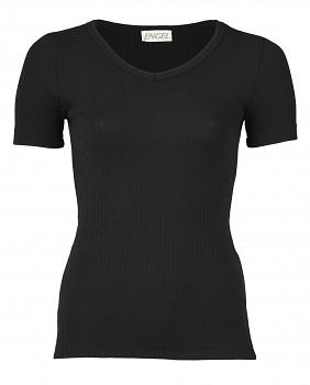 Dámské žebrované tričko s krátkým rukávem z bio merino vlny a hedvábí - černá