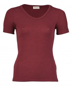 Dámské žebrované tričko s krátkým rukávem z bio merino vlny a hedvábí - burgundy