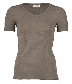 Dámské žebrované tričko s krátkým rukávem z bio merino vlny a hedvábí - hnědá wallnut