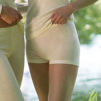 Dámské kalhotky s nohavičkami z merino vlny a hedvábí - přírodní