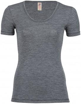 Dámské sportovní tričko s krátkými rukávy ze 100% bio merino vlny  - šedá melange