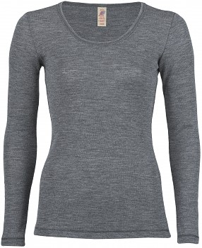 Dámské sportovní tričko s dlouhými rukávy ze 100% bio merino vlny  - šedá melange