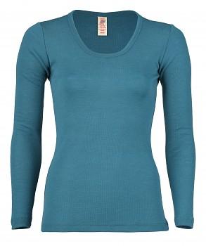 Dámské sportovní tričko s dlouhými rukávy ze 100% bio merino vlny  - modrozelená turquoise