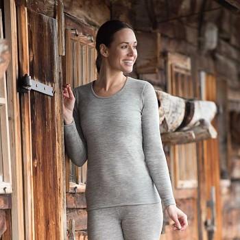 Dámské triko s dlouhými rukávy z bio merino vlny a hedvábí - světle šedá melange