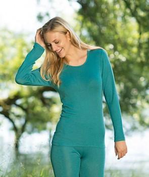 Dámské triko s dlouhými rukávy z bio merino vlny a hedvábí - světle modrá ice