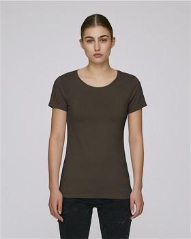 STELLA WANTS Dámské tričko s kulatým výstřihem ze 100% biobavlny - čokoládová