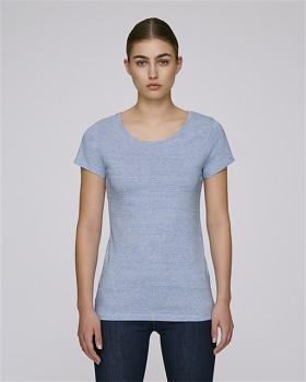 STELLA WANTS Dámské tričko s kulatým výstřihem ze 100% biobavlny - modrá cream heather blue