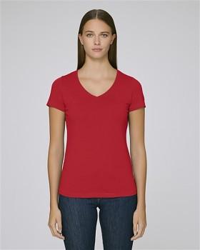 STELLA CHOOSES Dámské tričko s krátkými rukávy a velkým výstřihem do V ze 100% biobavlny - červená