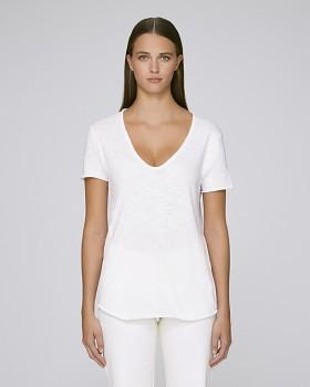 STELLA WHISPERS  Dámské tričko s velkým výstřihem výstřihem ze 100% biobavlny - bílá