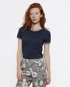 STELLA RETURNS Dámské tričko s kulatým výstřihem ze 100% biobavlny - modrá navy/šedá mid heather grey