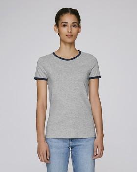STELLA RETURNS Dámské tričko s kulatým výstřihem ze 100% biobavlny - šedá mid heather grey/modrá navy
