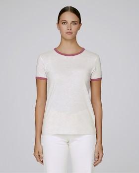 STELLA RETURNS Dámské tričko s kulatým výstřihem ze 100% biobavlny - šedá heather / cream cranberry