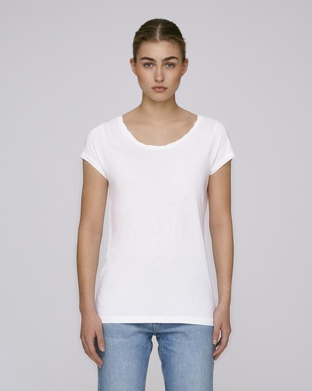 STELLA PARADES Dámské tričko s velkým výstřihem z biobavlny a modalu - bílá f6de158a8a