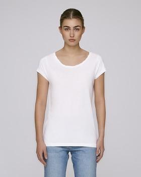 STELLA PARADES Dámské tričko s velkým výstřihem z biobavlny a modalu - bílá